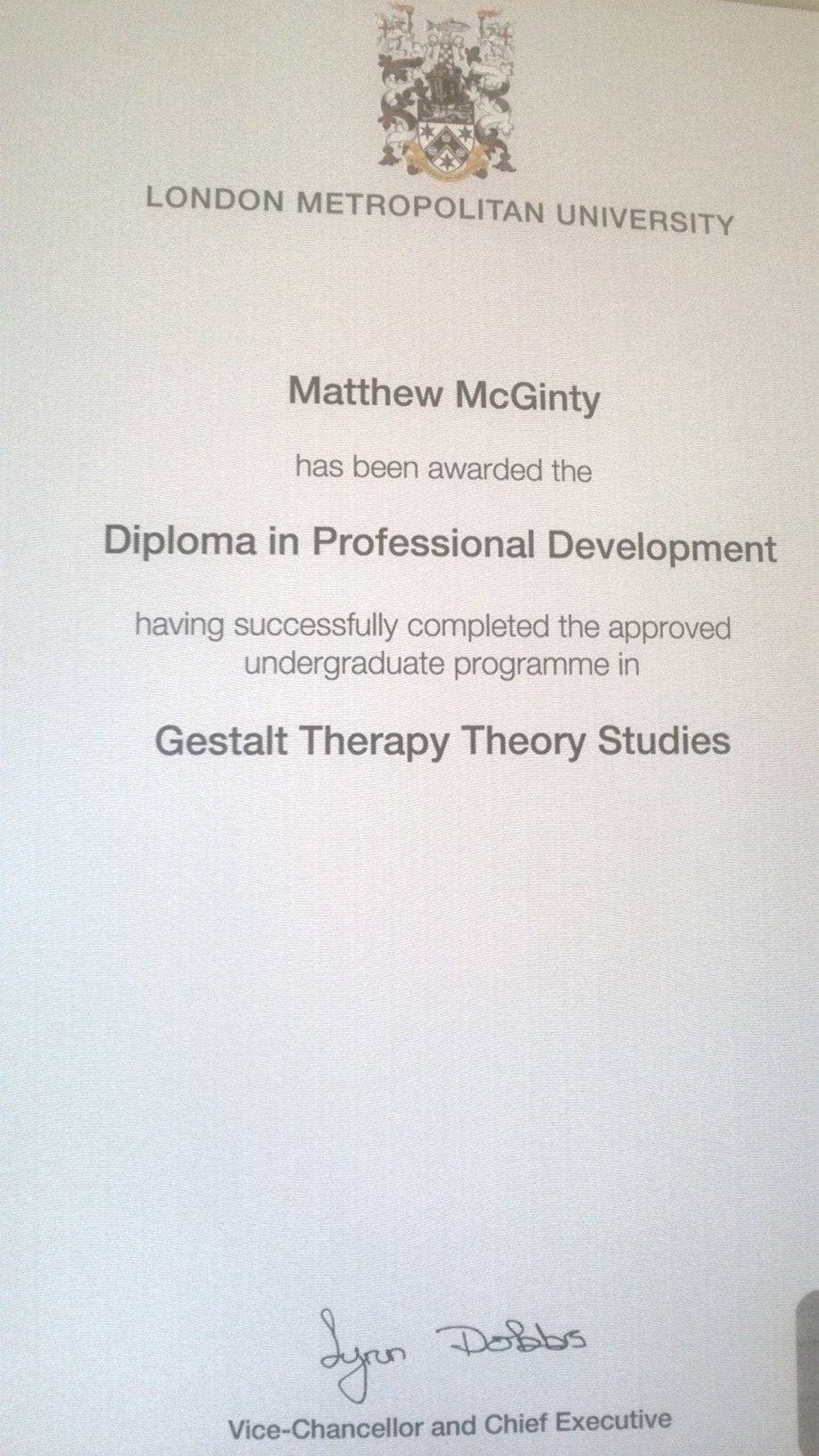 Gestalt Counseeling and Psycotherapy Certificate
