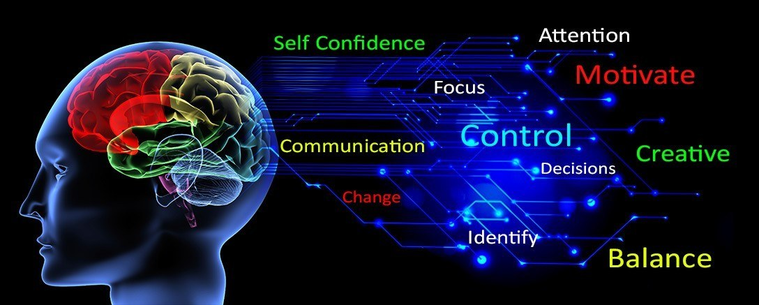 Graphic showing a brain and key words to do with the benfits from neur linguistic programming