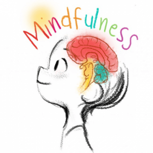 Cartoon of a childs head ans shoulders. Thje brain is coloured red and lit up. The words mindfulness are above the childs head and they are looking up