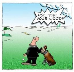 Cartoon of a male golfer being told by God to use the four wood